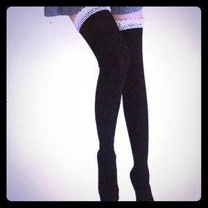 Black cable knit over the knee lace trim socks
